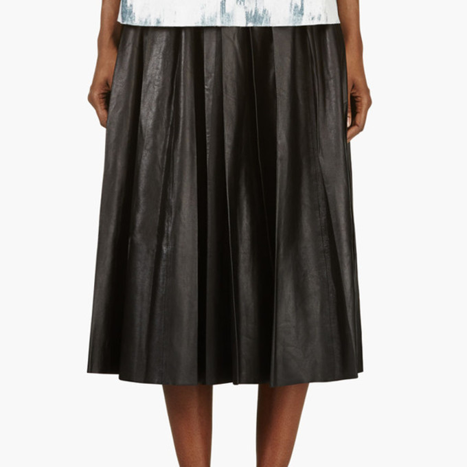 the best pleated skirt leather wheretoget