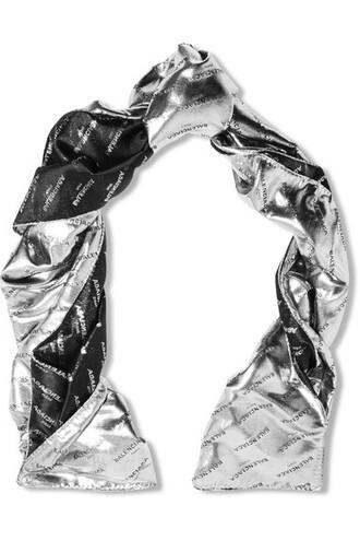 metallic jacquard scarf silver silk