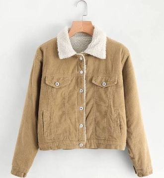 jacket fur collar trendy beige jacket