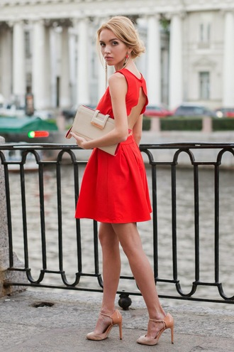 daryaya shoes bag red dress high heels backless dress clutch classy zara sandals cute dress earrings jewels red summer outfits summer dress dress nude nude shoes