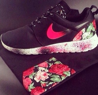 shoes nike black floral girly
