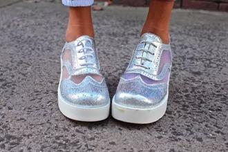 shoes holographic white tumblr rainbow pretty cute kawaii