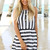 Black Mini Dress - Black and White Striped Nautical | UsTrendy