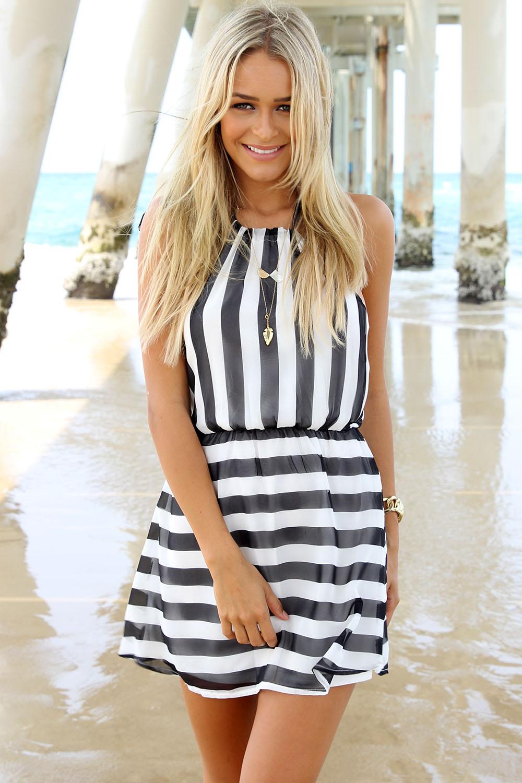 Black Mini Dress - Black and White Striped Nautical | UsTrendy