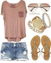 shirt,shorts,sandals,summer,jewels,top,pink,blouse,pockets,faded shorts,pocket t-shirt,distressed denim shorts,spring,outfit,shoes,fashion,hot,classy,loose,casual,everyday,sunglasses,gold,denim shorts,t-shirt,cute,light pink,nice outfit,nice,pretty,summer outfits,gloves,flat sandals