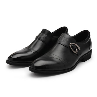 shoes monk buckles loafers slip on shoes pointed toe mens shoes black genuine leather office shoes oxfords dress shoes