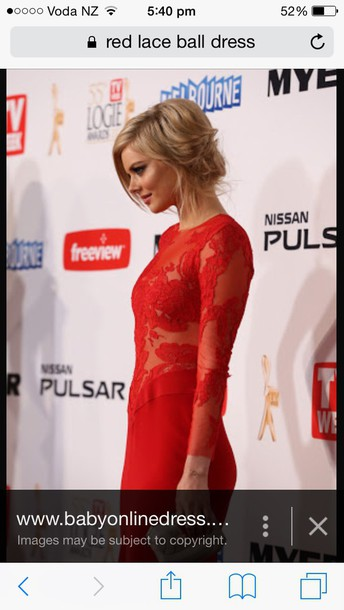 dress red lace red long sleeves lace