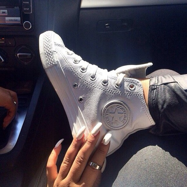 b79a14bb861f48 shoes jewels converse white high tops sneakers leather high top sneakers  nail polish gold ring black