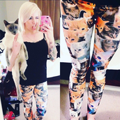 pants,leggings,cats,printed leggings,posh'd boutique,streetstyle,leopard leggings,grumpy cat