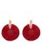 Bead-embellished small raffia disc-drop earrings