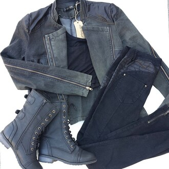 jacket moto jacket black black boots boots combat boots military boots