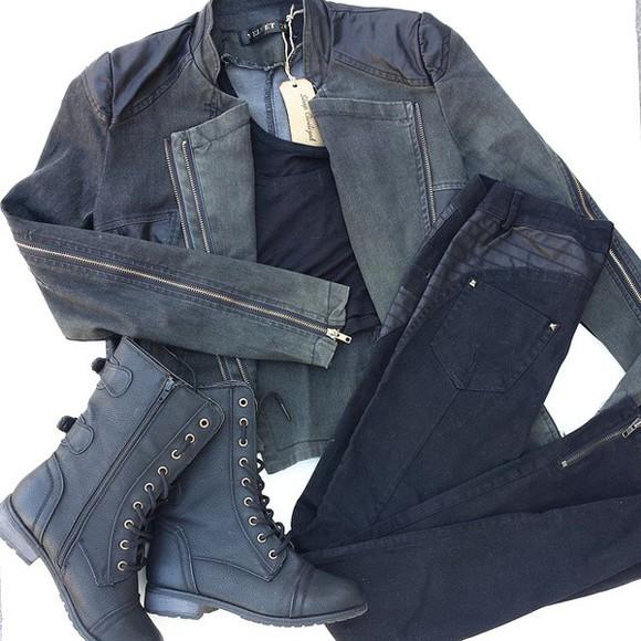 jacket moto jacket boots black black boots combat boots military boots