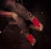 red boots,gold toe,gilded,high heels