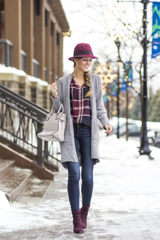 chicstreetstyle blogger shoes bag jewels cardigan blouse jeans hat top felt hat grey cardigan winter outfits ankle boots purple shoes handbag plaid cozy rebecca minkoff