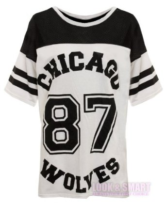 NEW WOMENS AMERICAN JERSEY FOOTBALL TOP 87 CHICAGO WOLVES PRINT VARSITY COLLEGE T SHIRT 8-14: Amazon.co.uk: Clothing