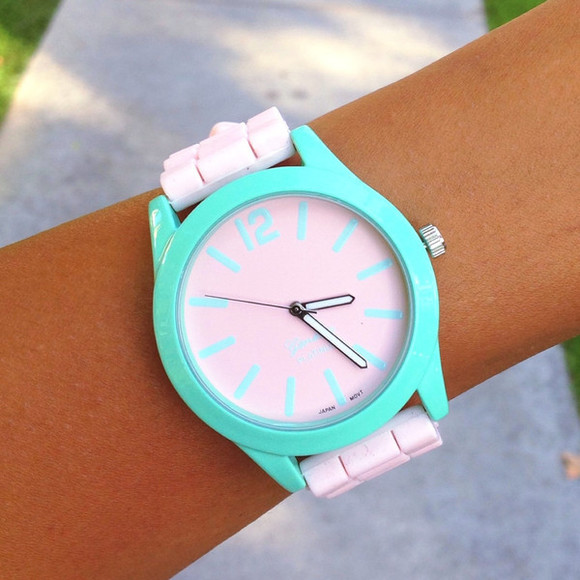 jewels watch cute mint silicone adorable girly minimalist geneva