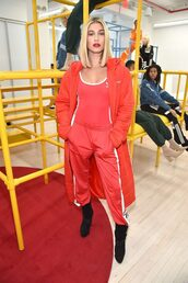 top,tank top,bodysuit,hailey baldwin,pants,sweatpants,red,model,fashion week,ny fashion week 2018,coat