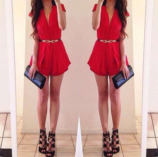 red dress heels belt shoes high heels cardigan