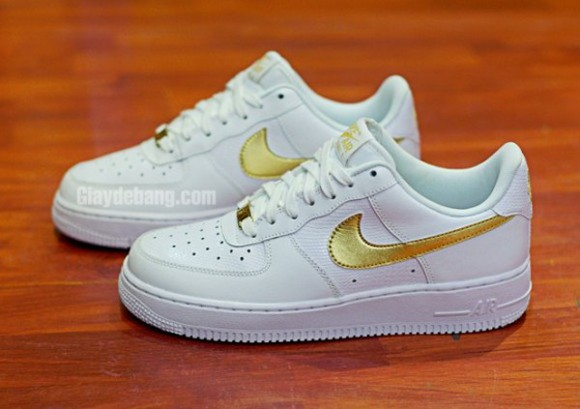 gold air force ones air force 1 air forces nike nike air gs womens sneakers kicks