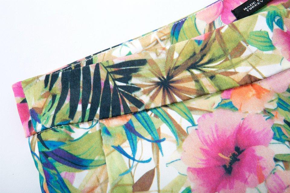 Red Floral Slim Crop Pant - Sheinside.com