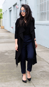 the fancy pants report,blogger,pants,sweater,coat,sunglasses,shoes,all black everything,black sweater,trench coat,rayban,aviator sunglasses