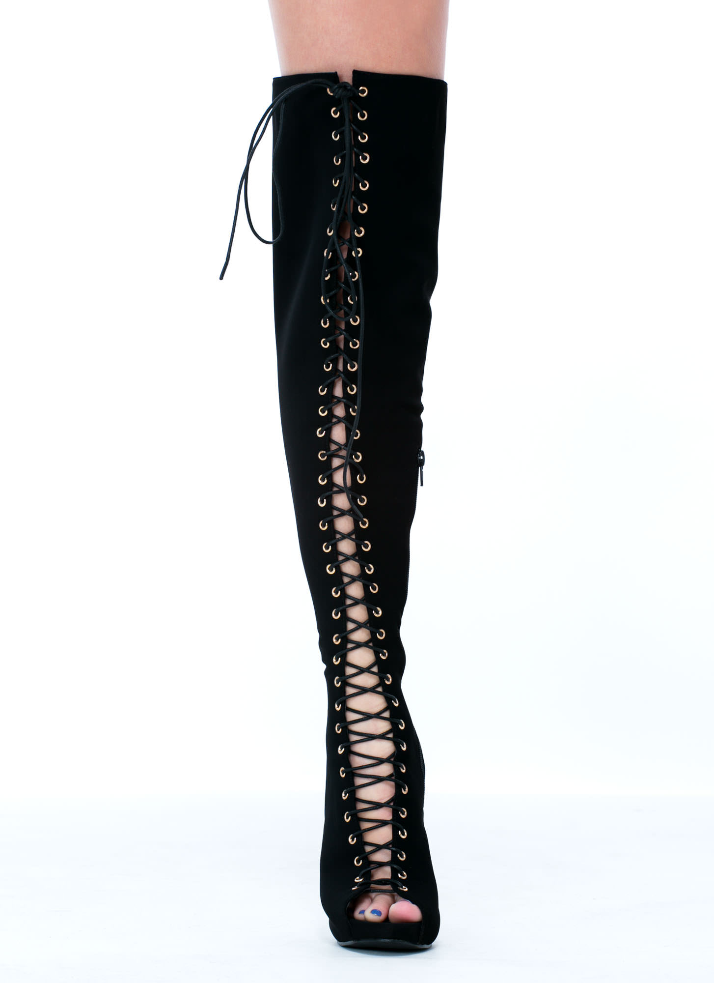 Black Thigh High Lace Up Boots - Cr Boot