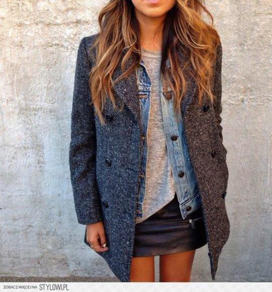 jacket coat grey jacket grey cold winter outfits coat jacket grey coat leather skirt