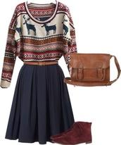 sweater,reindeer sweater,red,white,blue,bag,skirt,shoes,dress,robe,hipster,motifs