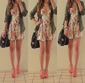 dress cute coral floral print girl tumblr girl curly hair army green kelly lovely girley