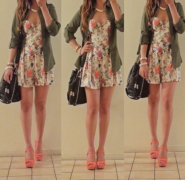 dress clothes flowers floral dress coat jacket green bag shoes cute coral floral print girl tumblr girl curly hair army green kelly lovely girley cute floral dress romper jumpsuit floral