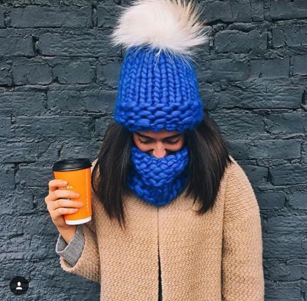 hat pom pom beanie scarf beanie royal blue knitwear 8b8fba6a7b2