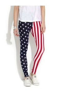 pants blue printed leggings american flag red white