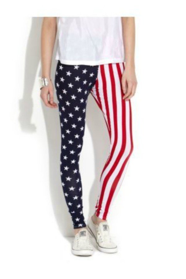 Pants: blue, printed leggings, american flag, red, white - Wheretoget