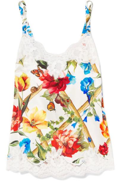 Dolce & Gabbana camisole lace floral white print silk satin underwear