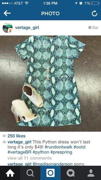 dress blue python dress