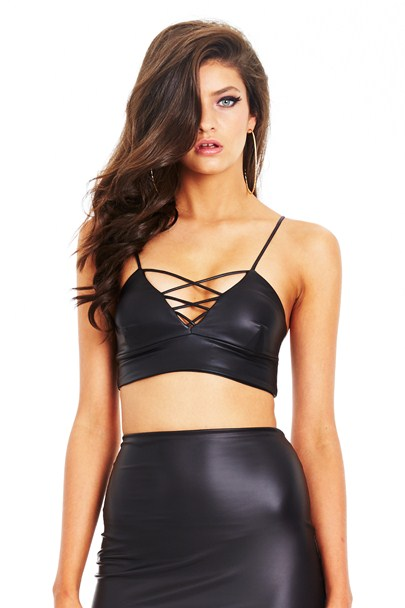 Black Trinity Crop Top : Buy Designer Dresses Online at Nookie