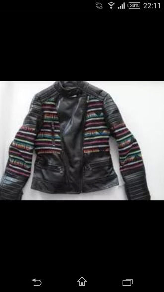 jacket leather jacket aztec motorcycle jacket