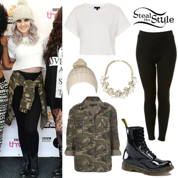 blouse clothes celebrity perrie edwards military style hat pants shirt amry print army green jacket