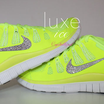 NIKE run free 5.0 running shoes w/Swarovski Crystals detail - Neon yellow on Wanelo