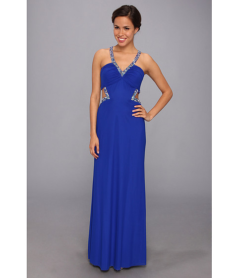Faviana Beaded Mesh Inset Gown 7348 Electric Blue - Zappos.com Free Shipping BOTH Ways