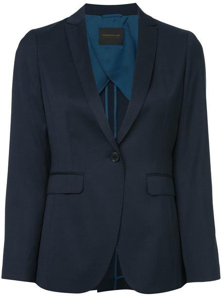 Tomorrowland blazer women blue silk wool jacket