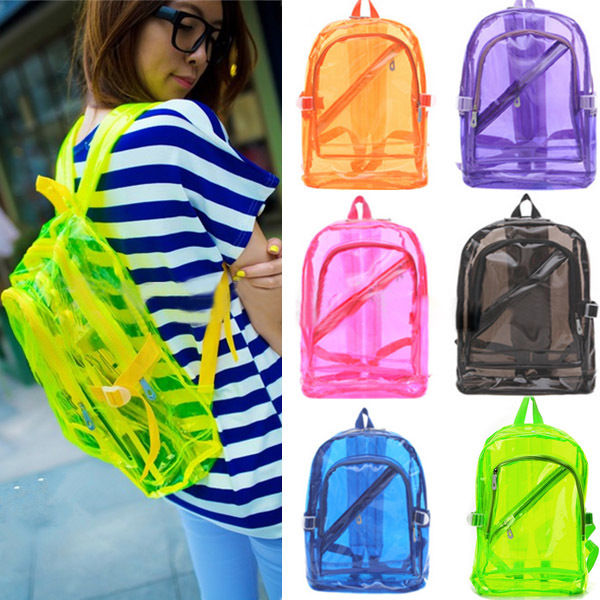 Women transparent clear backpack plastic student bag school bag bookbag fashion