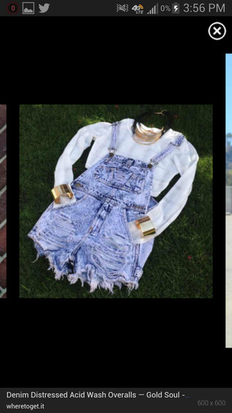 jeans white summer distressed overalls acid wash gold cuffs long sleeve relaxed