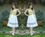 skirt,midi skirt,polyester skirt,a-line,sheer panel,sheer,mesh panel,mesh,high waisted,gorgeous,hot,trendy,elegant,celebrity style,korean celebrities
