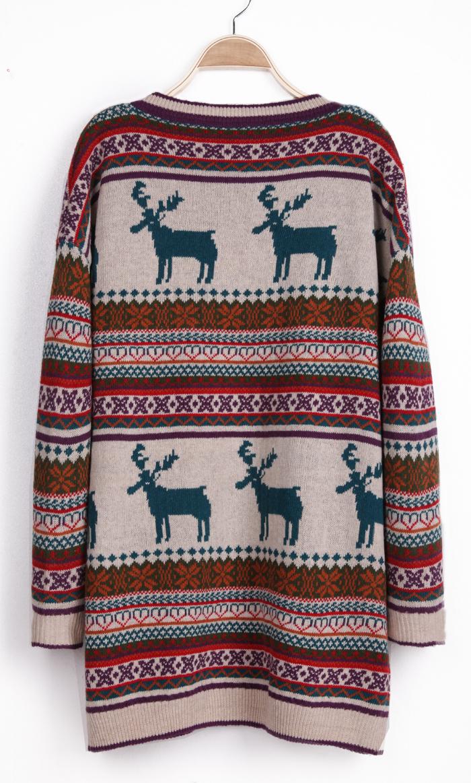 Khaki Deer Fair Isle Christmas Pattern Oversized Sweater ...
