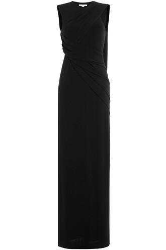 dress floor length dress draped black