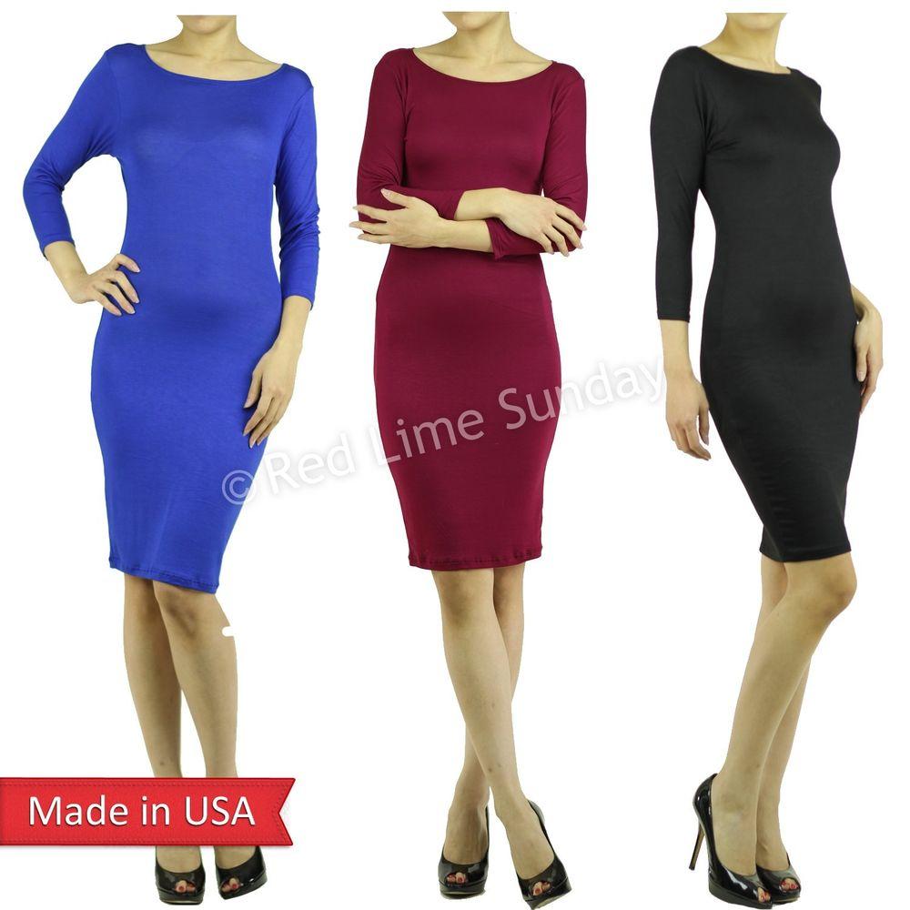 Black Blue Burgundy Color 3/4 Sleeve Bodycon Knee Length Lightweight Dress USA