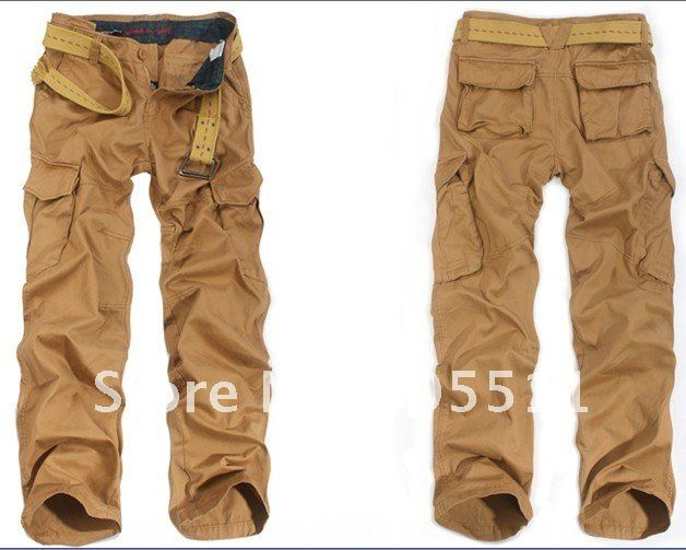 brand original 100% cotton men's cargo pants loose style casual ...