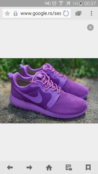 shoes violet nike roshe run all violet sneakers nike shoes nike sneakers roshe runs women