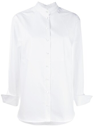 shirt collar shirt women white cotton top